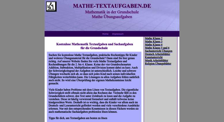 Access mathe-textaufgaben.de. Mathe Textaufgaben für die Grundschule