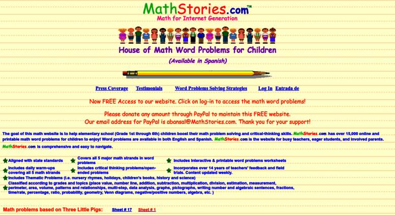 Access Mathstories Math Word Problems For Children