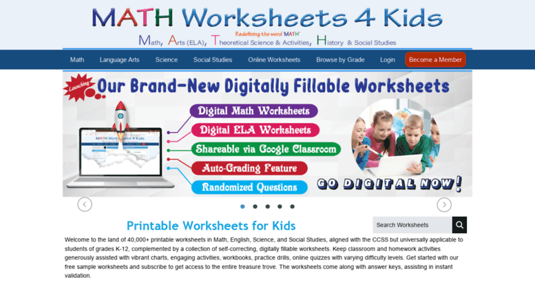 Access mathworksheets4kids.com. Math Worksheets 4 Kids