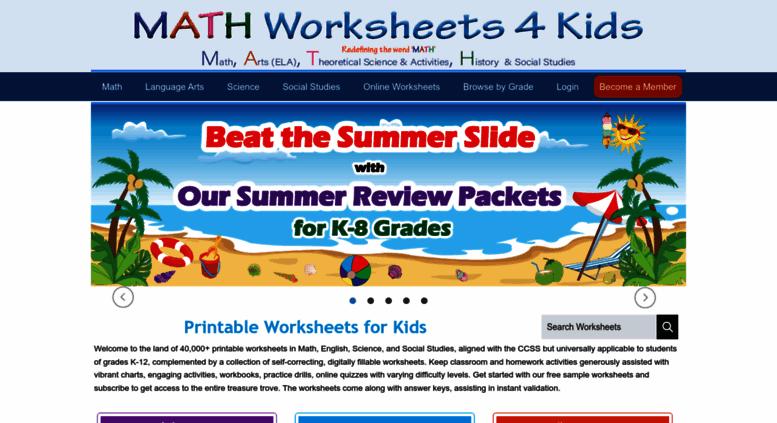 Access mathworksheets4kids Math Worksheets 4 Kids – Worksheets 4 Kids
