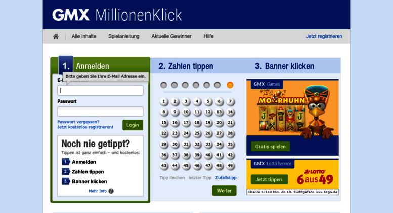 Lotto Gmx access millionenklick gmx gmx millionenklick