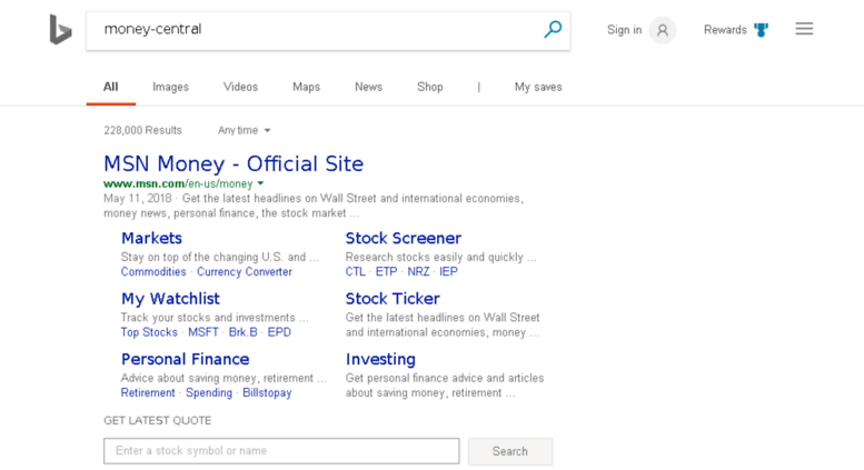 Msn Stock Quotes Simple Stock Quotes Financial Tools News Andysis Msn Money  Chromecast