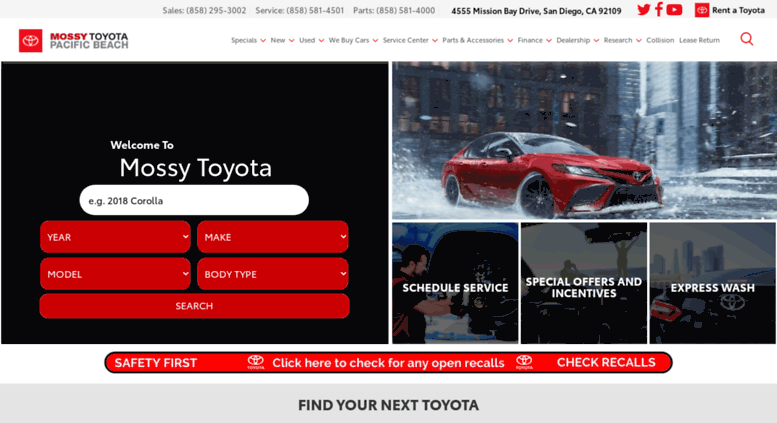 Superb Mossytoyota.com Screenshot