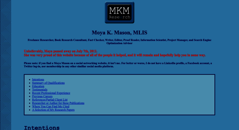 Moya K Mason  Resume MLIS Freelance Researcher Book