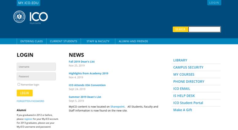 my.ico.edu screenshot