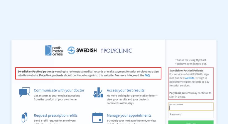 Access mychart swedish org mychart login page