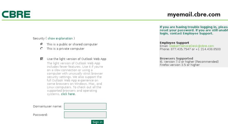 Myemail.cbre.com Screenshot