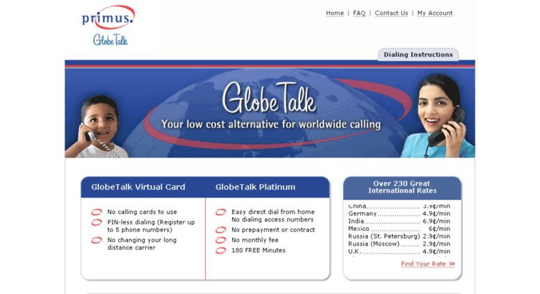 myglobetalkcom screenshot - Long Distance Calling Cards