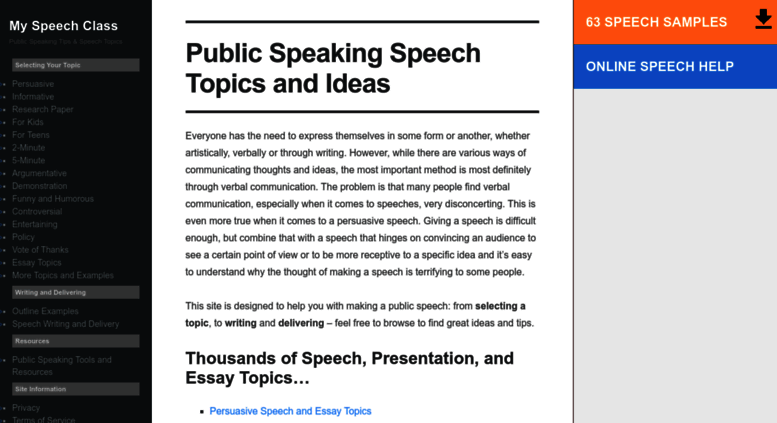 access myspeechclass com public speaking speech topics and ideas  public speaking speech topics and ideas • my speech class