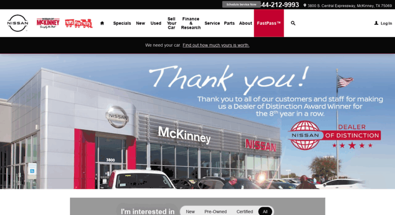 Nissanofmckinney.com Screenshot