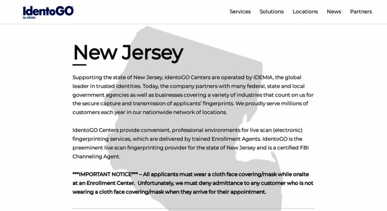 Access nj.ibtfingerprint.com. IdentoGO New Jersey Registration