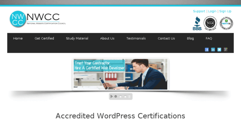 Access nwcconline.org. WordPress Certification - NWCC