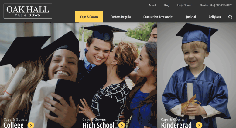Access oakhalli.com. Welcome to Oak Hall Cap & Gown