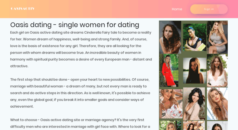 Oasis active dating site