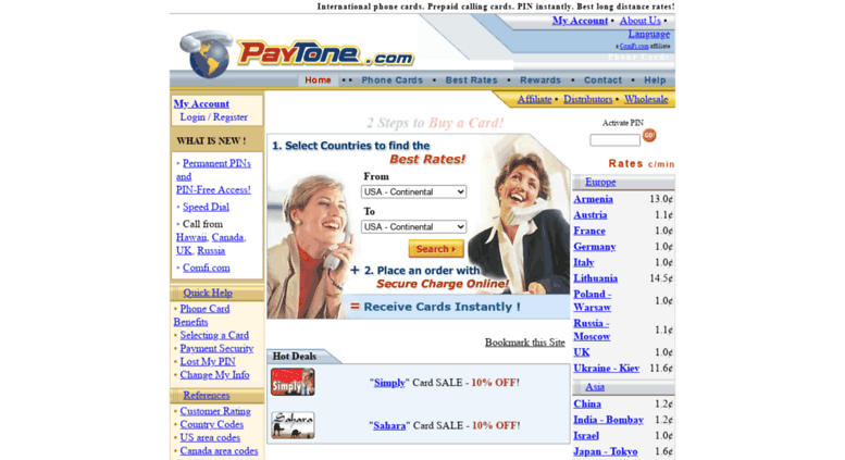 paytonecom screenshot - Best International Calling Cards