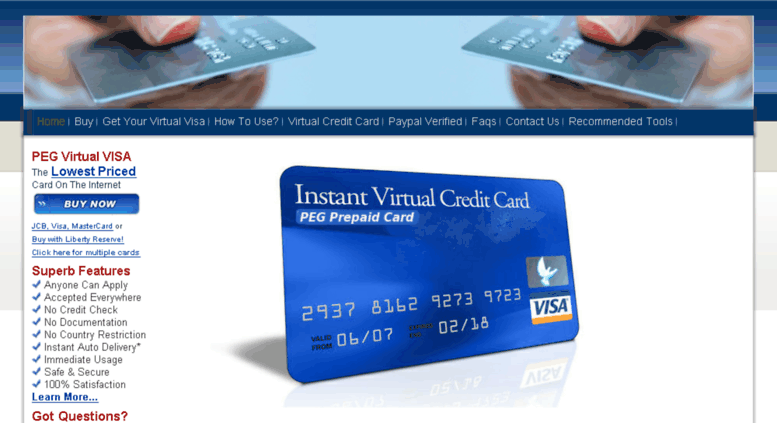 pegcardcom screenshot - Online Prepaid Card
