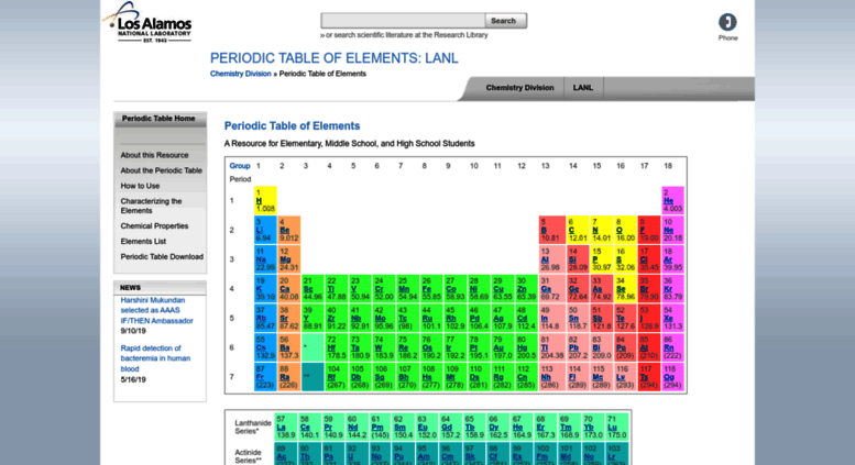 Access periodicnl periodic table of elements los alamos periodicnl screenshot urtaz Image collections