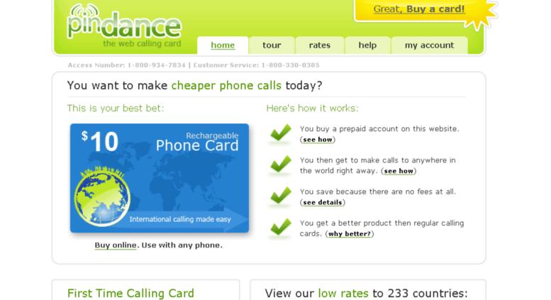 pindancecom screenshot - Phone Card For International Calls