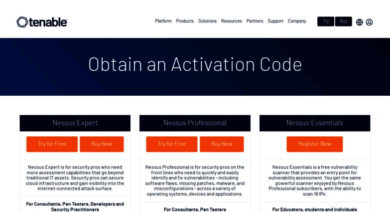 Access Pluginsssus Obtain An Activation Code Tenable