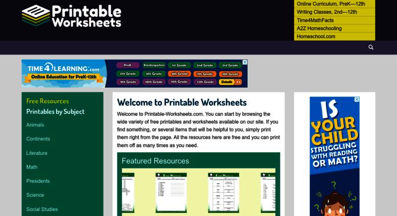 Access printable-worksheets.com. Printable-Worksheets.com