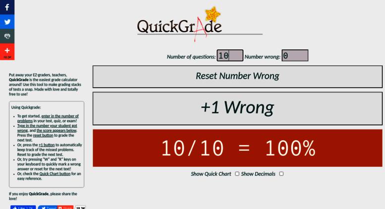 Access quickgra.de. QuickGrade | The easiest FREE grade calculator ...
