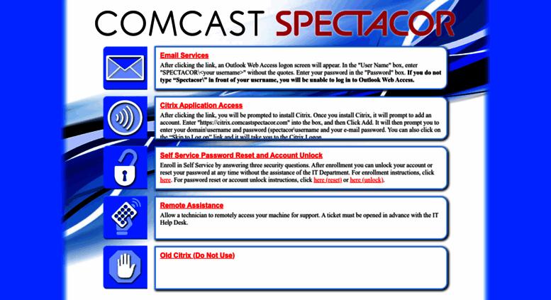 Remote.comcast Spectacor.com Screenshot