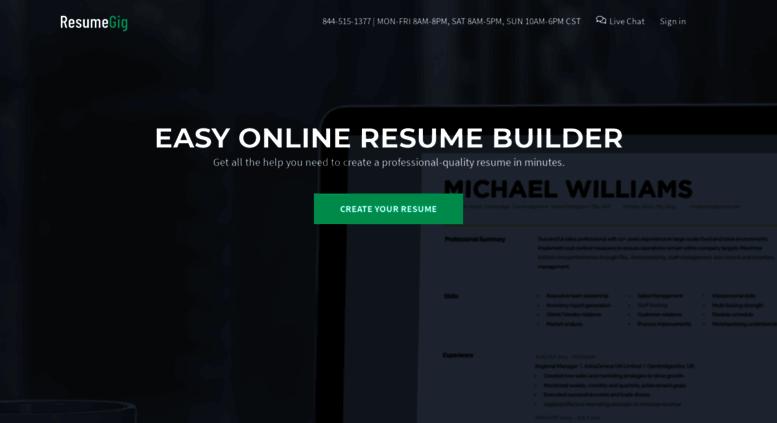 access resumegig com resumegig instantly create your resume