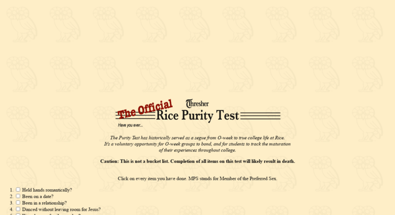 Rice purity test quiz