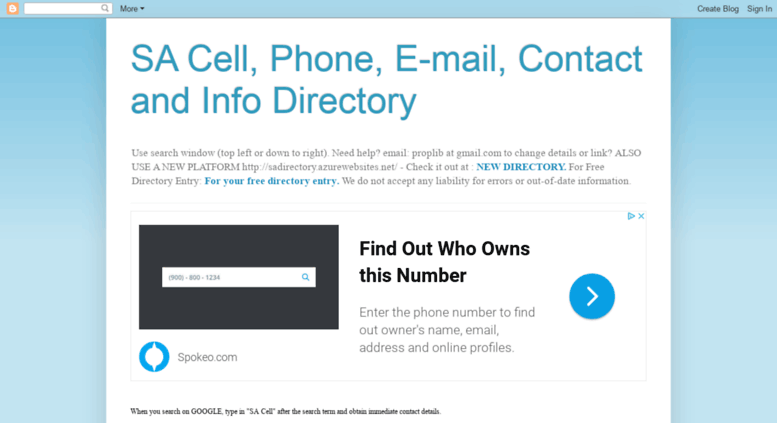 access sacellphonedirectory com sa cell phone e mail contact and