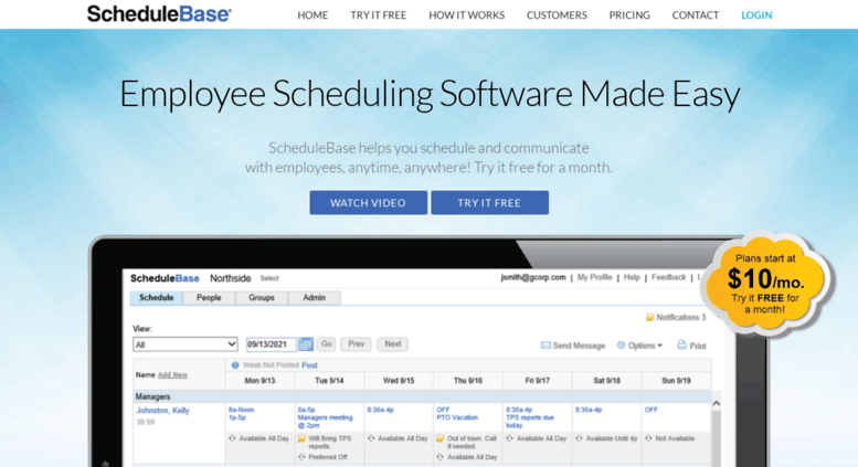 access schedulebase com employee scheduling software online