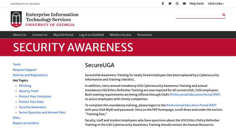 Secure.uga.edu Screenshot