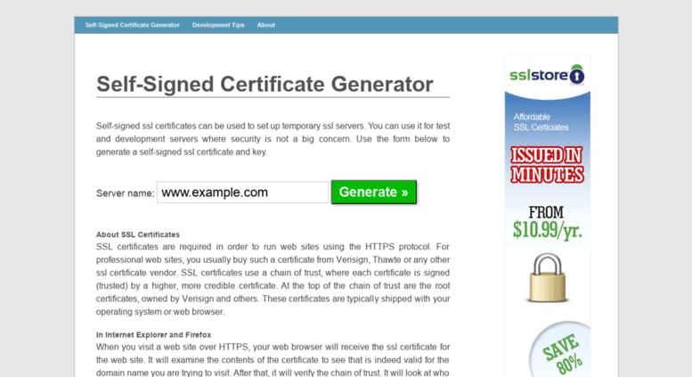 Access Selfsignedcertificate Self Signed Certificate Generator