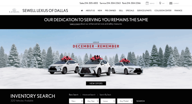 Sewelllexus Dallas.com Screenshot