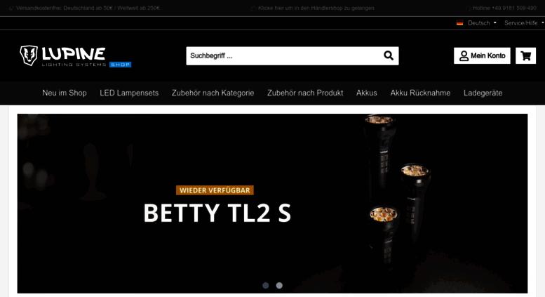 Shop.lupine.de Screenshot