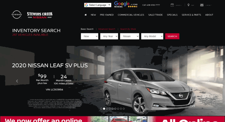 Stevenscreeknissan.com Screenshot