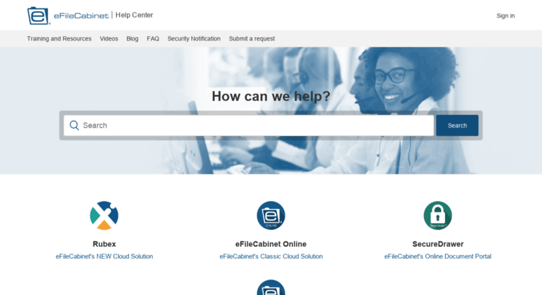 Access support.efilecabinet.com. Support Portal | eFileCabinet