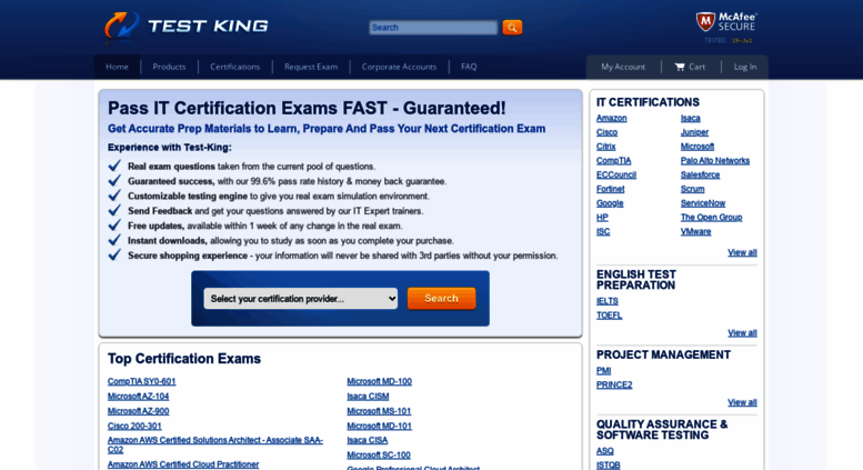 Access test-king.com. Testking IT Certification Prep, 100 ...
