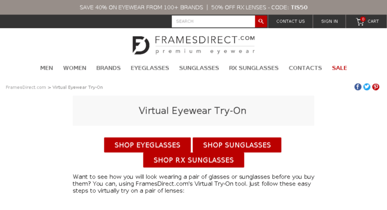 Access tryontech.framesdirect.com. Virtual Glasses Try-On Tool: Try ...