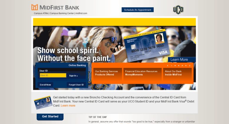 Midfirst home page