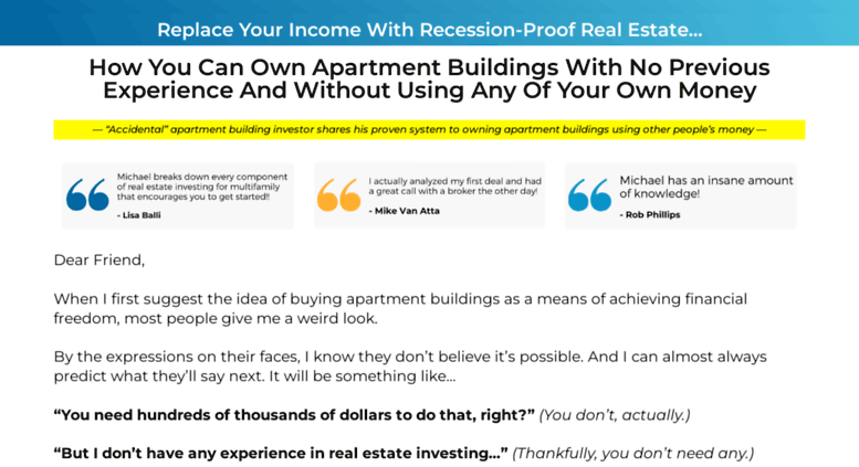 Access Ultimateapartmentinvestingguide.com. The Ultimate Guide To Buying  Apartment Buildings With Private Money | The BEST ECourse On The Planet.