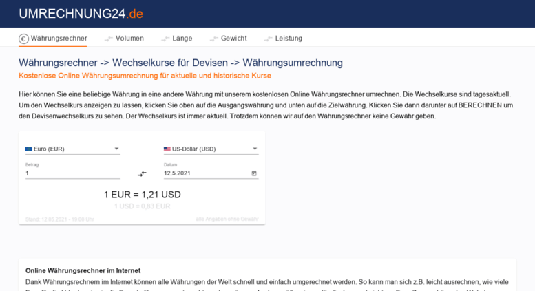 umrechnung24de screenshot