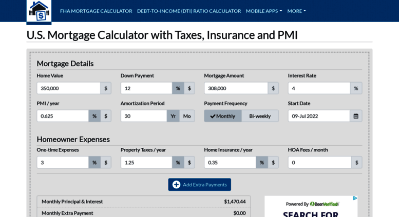 access usmortgagecalculator org u s mortgage calculator with taxes