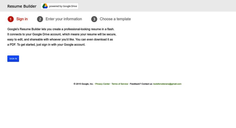 access vetsresumebuilderappspotcom google resume builder