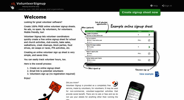 volunteersignup online volunteer signup sheets