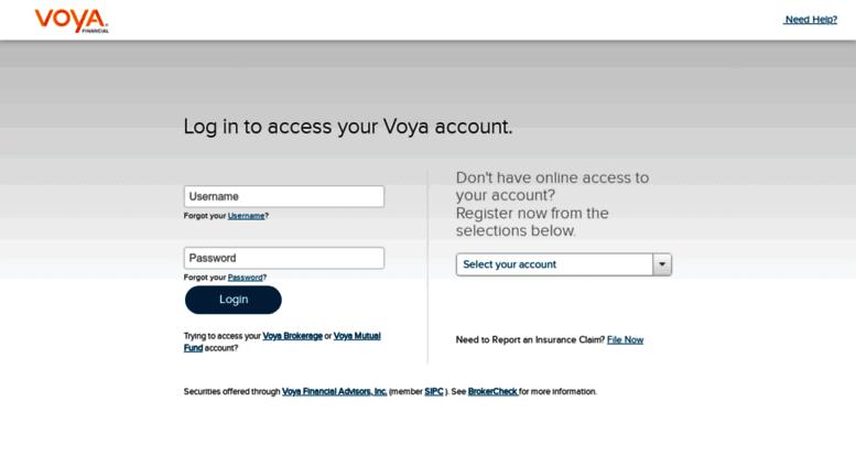 www voyalifecustomerservice com Access voyalifecustomerservice.com. Account Login | Voya Financial