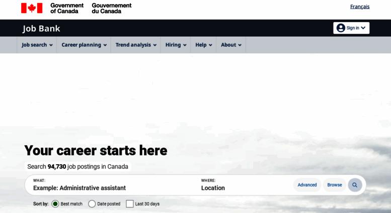 Access workingincanada.gc.ca. Your career starts here ...