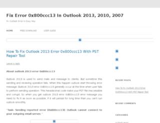 0x800ccc13.outlookerrors.org screenshot