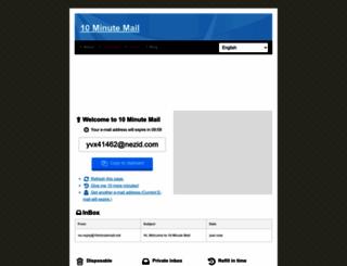 10minutemail.net screenshot