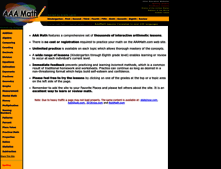 aaamath.com screenshot