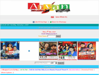 aaryamusic.in screenshot